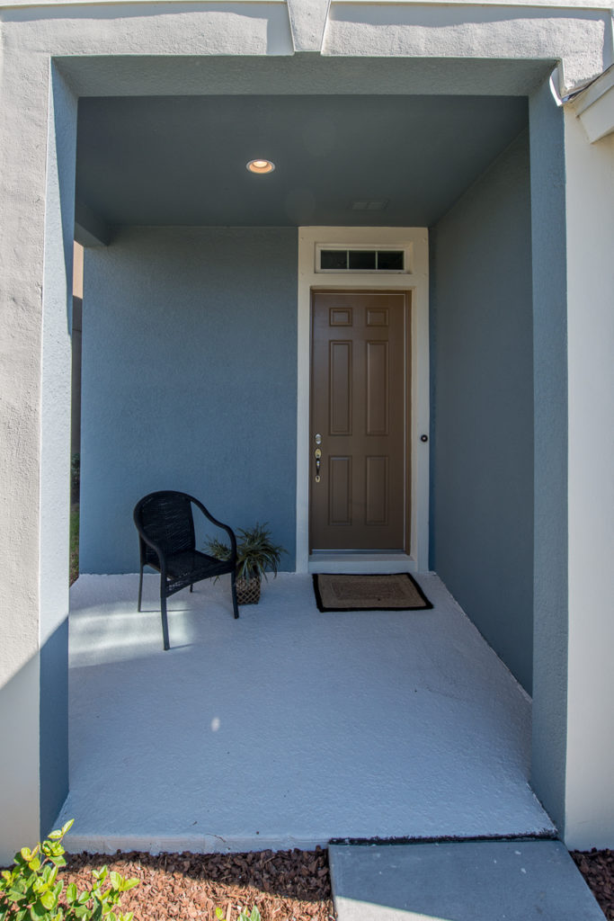 Outdoor entryway home staging for optimal visual effect